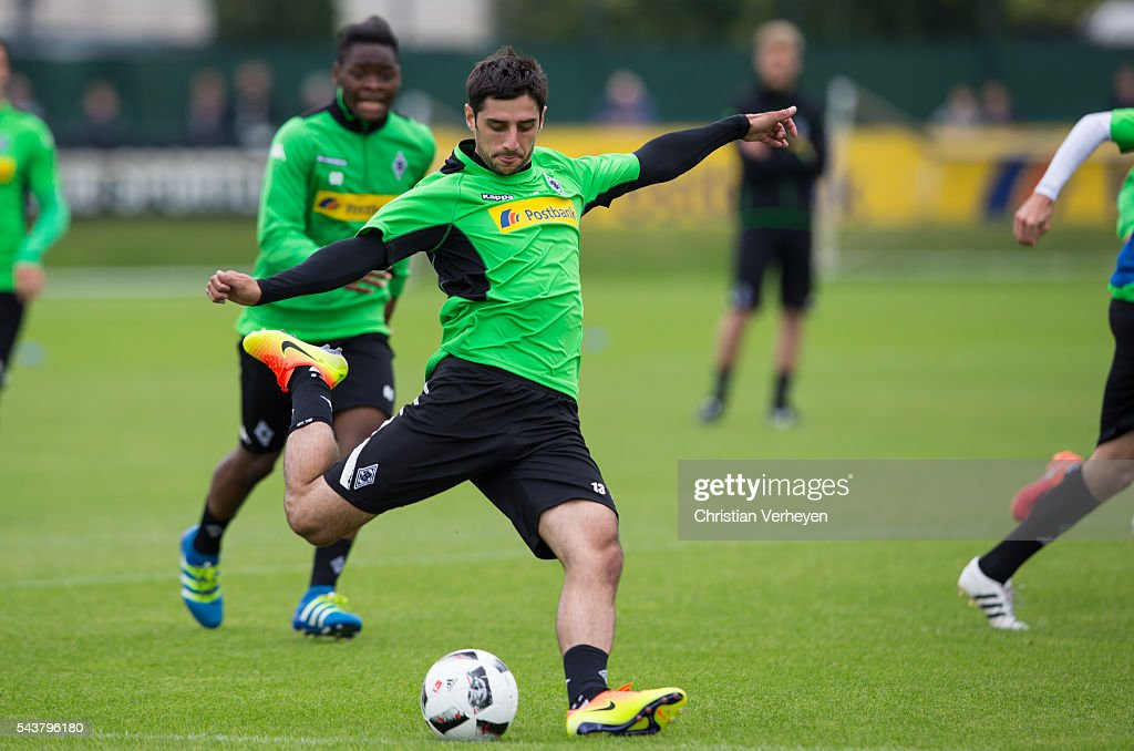 Lars Stindl of Borussia Moenchengladbach controls the ball during a training session at Borussia-Park on June 30, 2016 in Moenchengladbach, Germany.