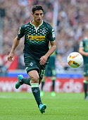 Lars Stindl of Borussia Moenchengladbach controls the ball during the Bundesliga match between VfB Stuttgart and Borussia Moenchengladbach at...
