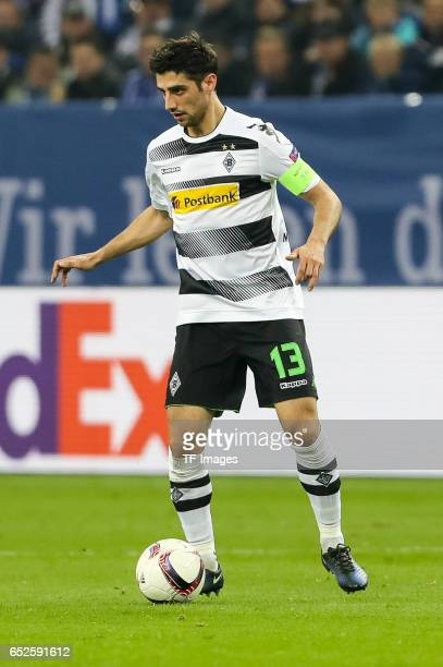 Lars Stindl of Borussia Moenchengladbach controls the ball during the UEFA Europa League Round of 16 first leg match between FC Schalke 04 and...