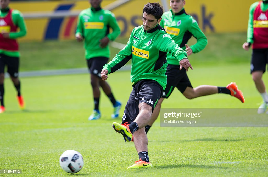 Lars Stindl of Borussia Moenchengladbach during a training session at Borussia-Park on June 29, 2016 in Moenchengladbach, Germany.