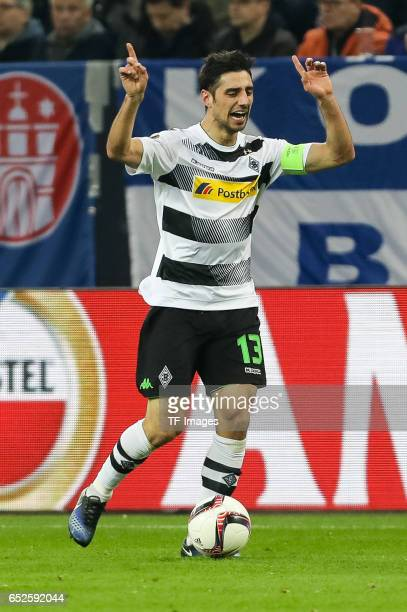 Lars Stindl of Borussia Moenchengladbach gestures during the UEFA Europa League Round of 16 first leg match between FC Schalke 04 and Borussia...