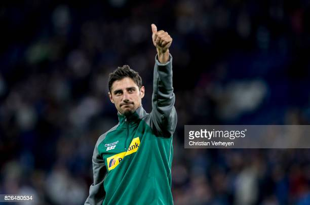 Lars Stindl of Borussia Moenchengladbach reacts after a friendly match between Leicester City and Borussia Moenchengladbach at King Power Stadium on...