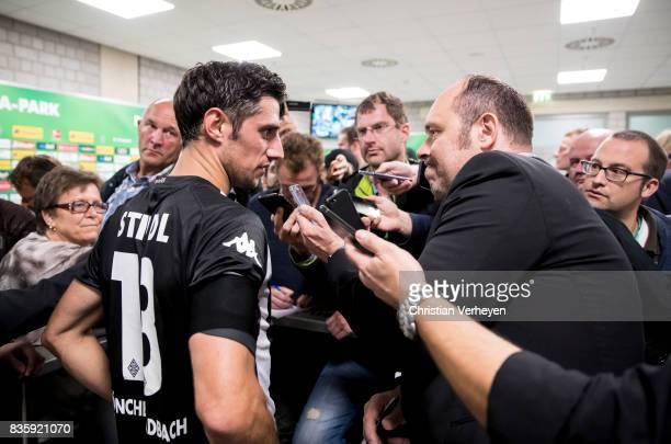 Lars Stindl of Borussia Moenchengladbach speaks to the media after the Bundesliga match between Borussia Moenchengladbach and 1 FC Koeln at...