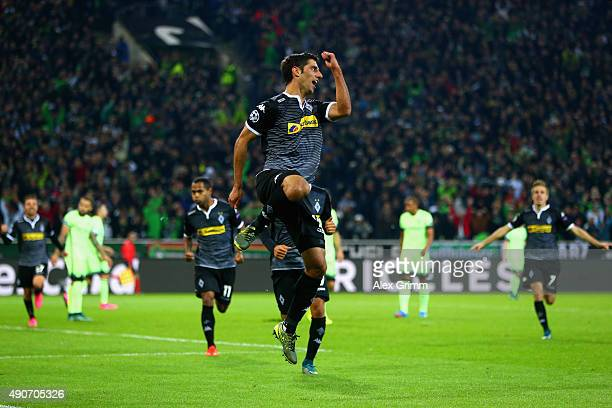 Lars Stindl of Borussia Monchengladbach celebrates scoring the opening goal during the UEFA Champions League Group D match between VfL Borussia...