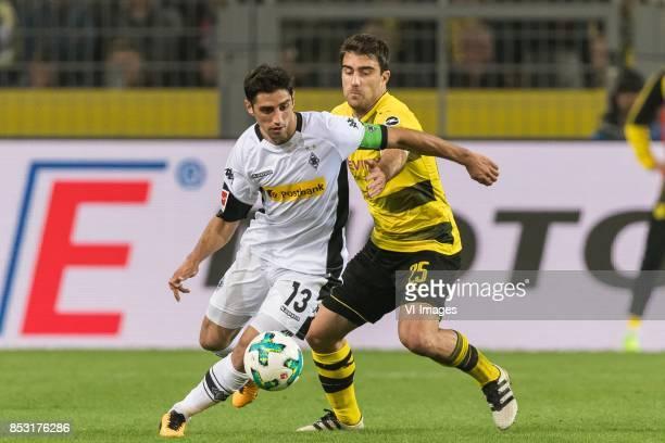 Lars Stindl of Borussia Monchengladbach Sokratis Papastathopoulos of Borussia Dortmund during the Bundesliga match between Borussia Dortmund and...