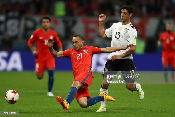 Lars Stindl of Gerany puts pressure on Marcelo Diaz of Chile during the FIFA Confederations Cup Russia 2017 Group B match between Germany and Chile...