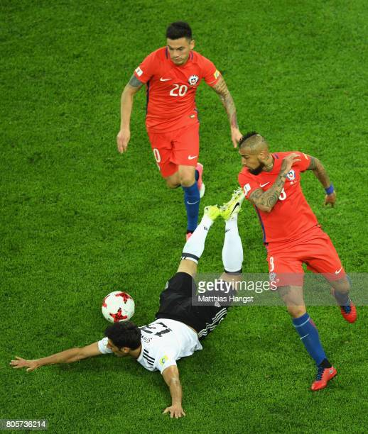Lars Stindl of Germany and Arturo Vidal of Chile battle for possession during the FIFA Confederations Cup Russia 2017 Final between Chile and Germany...