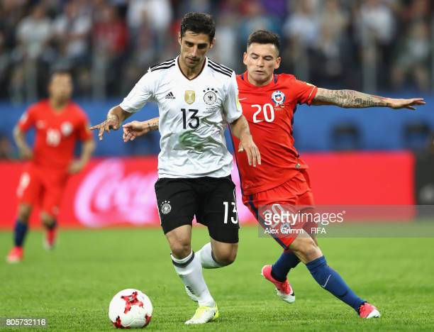 Lars Stindl of Germany and Charles Aranguiz of Chile battle for possession during the FIFA Confederations Cup Russia 2017 Final between Chile and...