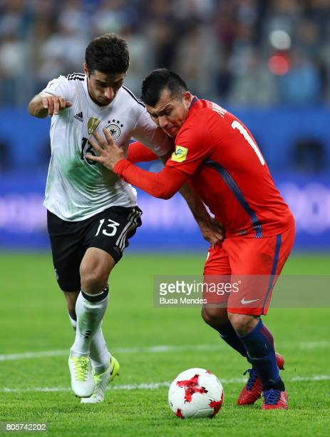 Lars Stindl of Germany and Gary Medel of Chile battle for possession during the FIFA Confederations Cup Russia 2017 Final between Chile and Germany...