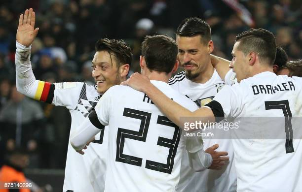 Lars Stindl of Germany celebrates his goal with Mesut Ozil Sandro Wagner Julian Draxler during the international friendly match between Germany and...