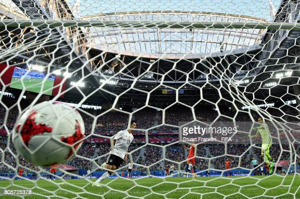 Lars Stindl of Germany celebrates scoring his sides first goal as Claudio Bravo of Chile reacts during the FIFA Confederations Cup Russia 2017 Final...