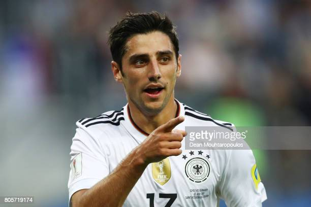 Lars Stindl of Germany celebrates scoring his sides first goal during the FIFA Confederations Cup Russia 2017 Final between Chile and Germany at...