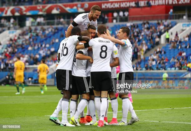 Lars Stindl of Germany celebrates scoring his sides first goal with his Germany team mates during the FIFA Confederations Cup Russia 2017 Group B...