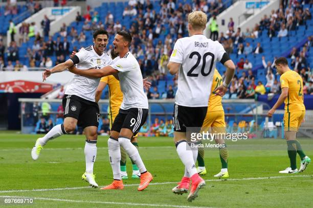 Lars Stindl of Germany celebrates scoring his sides first goal with Sandro Wagner of Germany during the FIFA Confederations Cup Russia 2017 Group B...