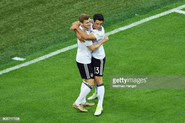 Lars Stindl of Germany celebrates scoring his sides first goal with Timo Werner of Germany during the FIFA Confederations Cup Russia 2017 Final...