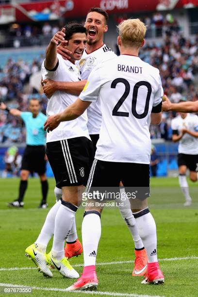 Lars Stindl of Germany celebrates scoring the first goal for Germany with Julian Brandt of Germany during the FIFA Confederations Cup Russia 2017...