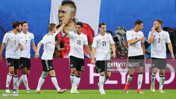 Lars Stindl of Germany celebrates scoring the opening goal during the FIFA Confederations Cup Russia 2017 Final between Chile and Germany at Saint...