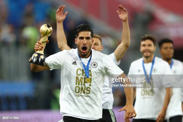 Lars Stindl of Germany celebrates with the FIFA Confederations Cup trophy after the FIFA Confederations Cup Russia 2017 Final between Chile and...