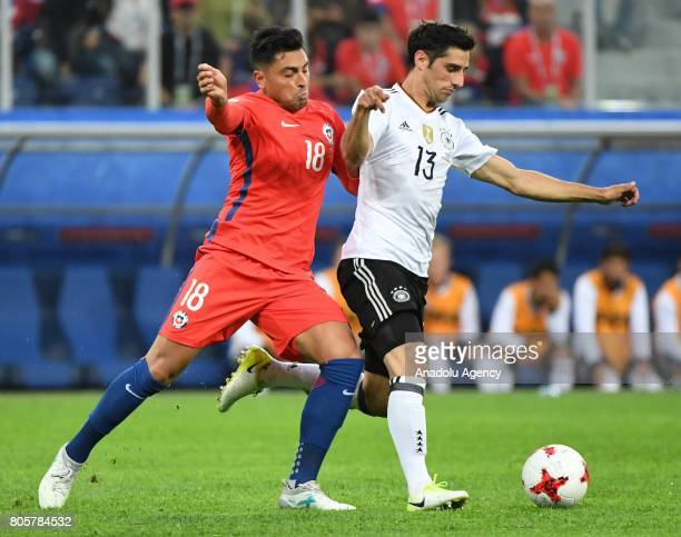 Lars Stindl of Germany in action against Gonzalo Jara of Chile during the Confederations Cup 2017 Final match Chile Germany at SaintPetersburg...