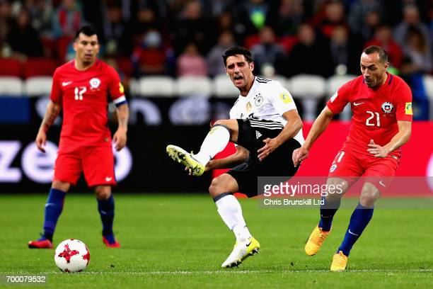Lars Stindl of Germany is challenged by Marcelo Diaz of Chile during the FIFA Confederations Cup Russia 2017 Group B match between Germany and Chile...