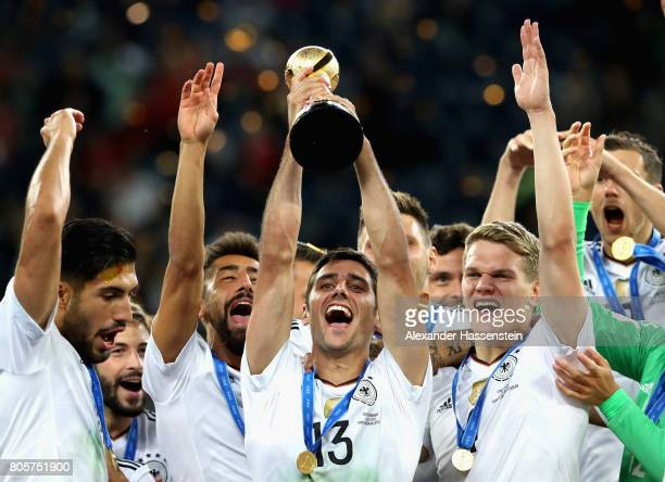 Lars Stindl of Germany lifts the FIFA Confederations Cup trophy after the FIFA Confederations Cup Russia 2017 Final between Chile and Germany at...