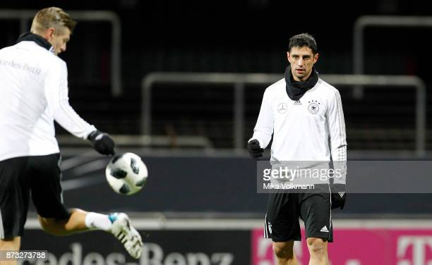 Lars Stindl of Germany looks to Toni Kroos during the training of the german national team on November 12 2017 in Cologne Germany