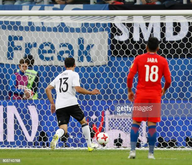 Lars Stindl of Germany national team scores during FIFA Confederations Cup Russia 2017 final match between Chile and Germany at Saint Petersburg...