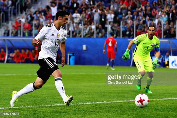 Lars Stindl of Germany scores the opening goal as Claudio Bravo of Chile looks on during the FIFA Confederations Cup Russia 2017 Final match between...