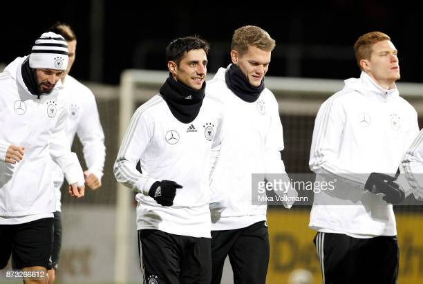 Lars Stindl of Germany warms up with teammates during the training of the german national team on November 12 2017 in Cologne Germany