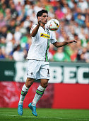Lars Stindl of Gladbach in action during the Bundesliga match between Werder Bremen and Borussia Moenchengladbach at Weserstadion on August 30 2015...
