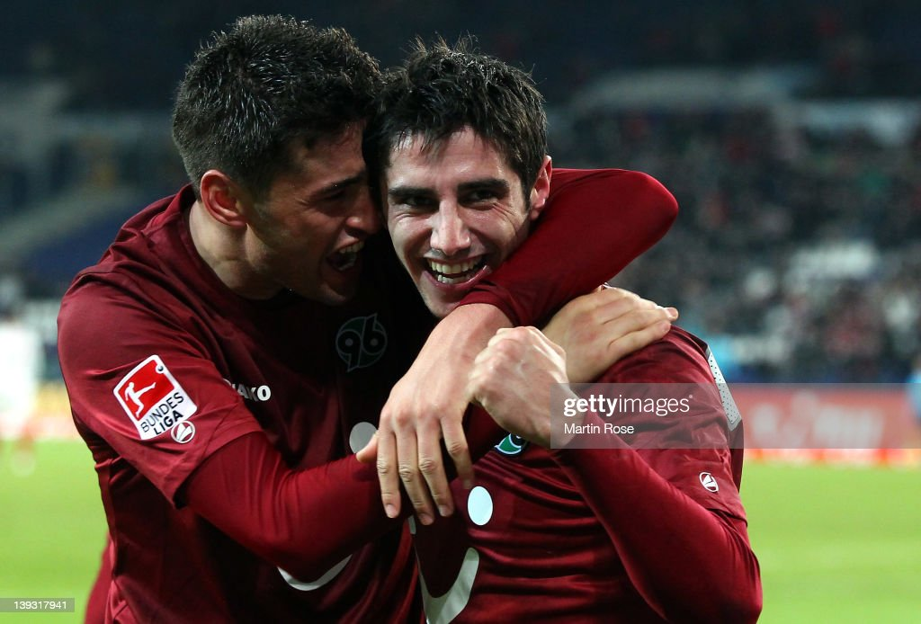 Lars Stindl (R) of Hannover celebrates after he scores his team's 4th goal during the Bundesliga match between Hannover 96 and VfB Stuttgart at AWD Arena on February 19, 2011 in Hanover, Germany.