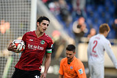 Lars Stindl of Hannover celebrates scoring his goal during during to the Bundesliga match between Hannover 96 and VfB Stuttgart at HDIArena on...