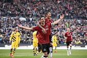 Lars Stindl of Hannover celebrates scoring his goal with Leonardo Bittencourt of Hannover during to the Bundesliga match between Hannover 96 and...