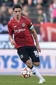 Lars Stindl of Hannover controls the ball during the Bundesliga match between Hannover 96 and VfB Stuttgart at HDIArena on February 28 2015 in...