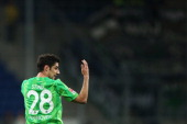 Lars Stindl of Hannover reacts during the Bundesliga match between 1899 Hoffenheim and Hannover 96 at wirsol RheinNeckar Arena on March 26 2014 in...