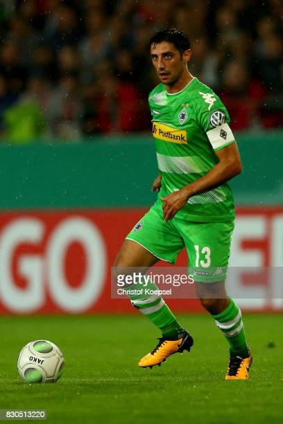Lars Stindl of Mnchengladbach runs with the ball during the DFB Cup first round match between RotWeiss Essen and Borussia Moenchengladbach at Stadion...