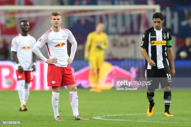 Lars Stindl of Moenchengladbach after he scored his teams second goal to make it 22 while Timo Werner of Leipzig looks on during the Bundesliga match...
