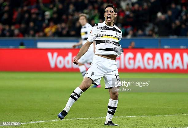 Lars Stindl of Moenchengladbach celebrates after scoring his teams first goal during the Bundesliga match between Bayer 04 Leverkusen and Borussia...