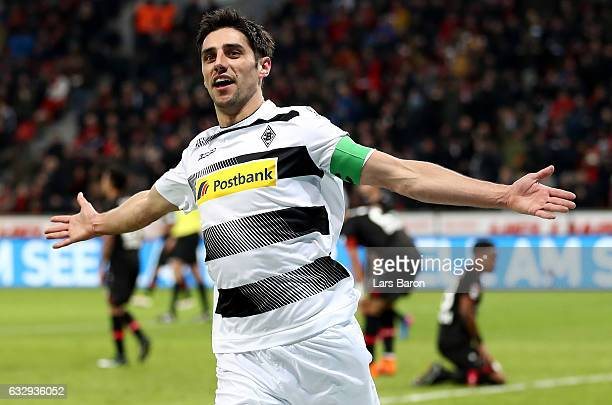 Lars Stindl of Moenchengladbach celebrates after scoring his teams second goal during the Bundesliga match between Bayer 04 Leverkusen and Borussia...