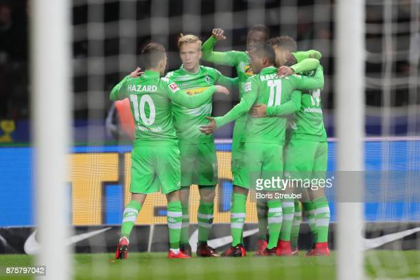 Lars Stindl of Moenchengladbach celebrates with his team mates after he scored to make it 01 during the Bundesliga match between Hertha BSC and...