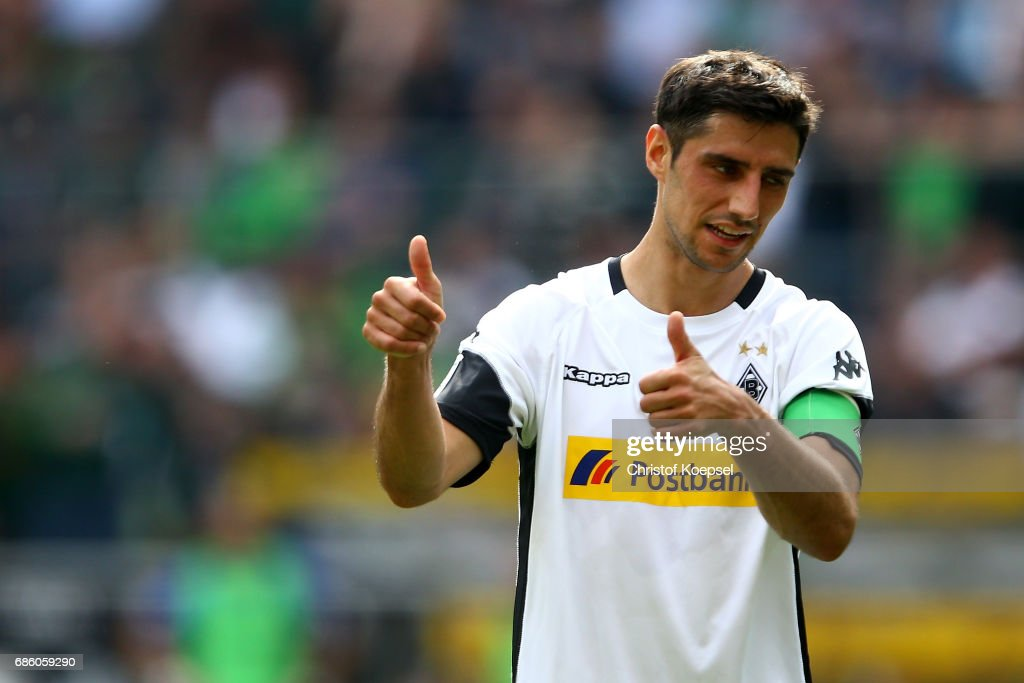 Lars Stindl of Moenchengladbach reacts during the Bundesliga match between Borussia Moenchengladbach and SV Darmstadt 98 at Borussia-Park on May 20, 2017 in Moenchengladbach, Germany.