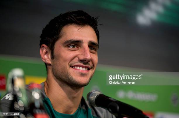 Lars Stindl talks to the press during a press conference after a training session of Borussia Moenchengladbach at BorussiaPark on July 25 2017 in...
