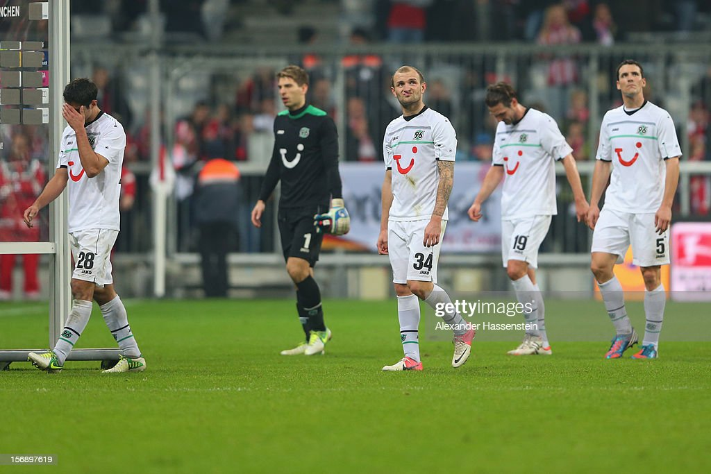 <a gi-track='captionPersonalityLinkClicked' href=/galleries/search?phrase=Lars+Stindl&family=editorial&specificpeople=654295 ng-click='$event.stopPropagation()'>Lars Stindl</a>s of Hannover looks dejected with his team mates Robert Ziegler, <a gi-track='captionPersonalityLinkClicked' href=/galleries/search?phrase=Konstantin+Rausch&family=editorial&specificpeople=2146604 ng-click='$event.stopPropagation()'>Konstantin Rausch</a>, <a gi-track='captionPersonalityLinkClicked' href=/galleries/search?phrase=Christian+Schulz&family=editorial&specificpeople=228730 ng-click='$event.stopPropagation()'>Christian Schulz</a> and <a gi-track='captionPersonalityLinkClicked' href=/galleries/search?phrase=Mario+Eggimann&family=editorial&specificpeople=677363 ng-click='$event.stopPropagation()'>Mario Eggimann</a> after the Bundesliga match between FC Bayern Muenchen and Hannover 96 at Allianz Arena on November 24, 2012 in Munich, Germany.