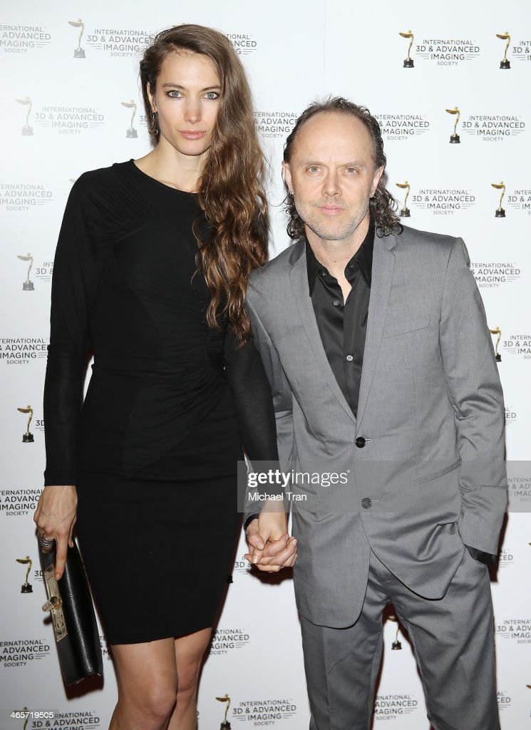 Lars Ulrich (R) and guest arrive at the 2014 International 3D and Advanced Imaging Society's Creative Arts Awards held at Steven J. Ross Theatre on January 28, 2014 in Burbank, California.