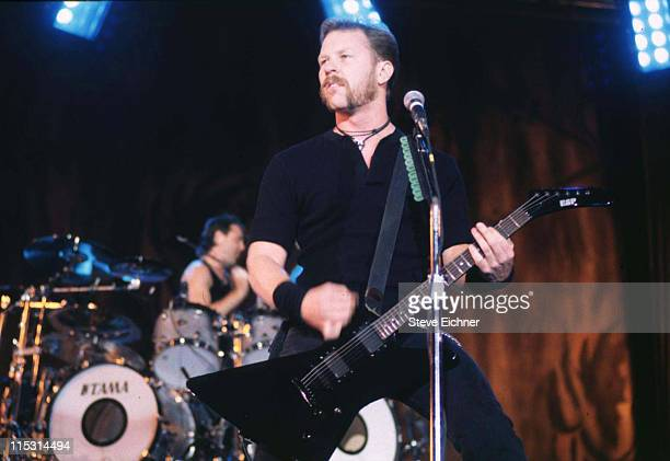 Lars Ulrich and James Hetfield of Metallica during Lollapalooza 1996 at Downing Stadium Randall's Island in New York City at Downing Stadium...