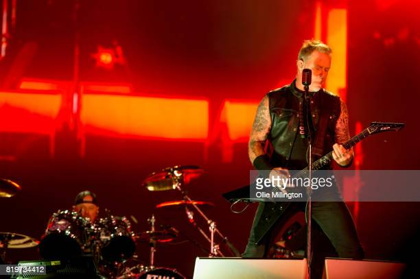Lars Ulrich and James Hetfield of Metallica perform live on stage headlining Day 9 of the 50th Festival D'ete De Quebec on the Main Stage at the...
