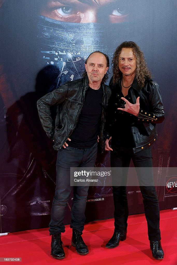 <a gi-track='captionPersonalityLinkClicked' href=/galleries/search?phrase=Lars+Ulrich&family=editorial&specificpeople=209281 ng-click='$event.stopPropagation()'>Lars Ulrich</a> (L) and <a gi-track='captionPersonalityLinkClicked' href=/galleries/search?phrase=Kirk+Hammett&family=editorial&specificpeople=204665 ng-click='$event.stopPropagation()'>Kirk Hammett</a> (R) of Metallica attend the 'Metallica: Through The Never' premiere at the Callao Cinema ME on October 9, 2013 in Madrid, Spain.