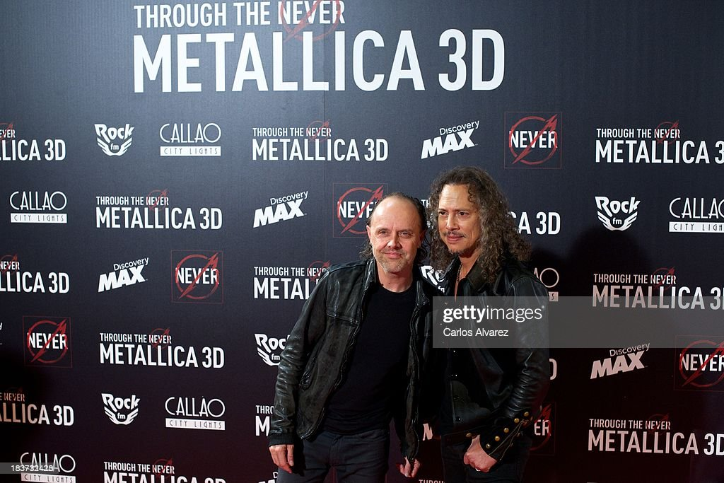 Lars Ulrich (L) and Kirk Hammett (R) of Metallica attend the 'Metallica: Through The Never' premiere at the Callao Cinema ME on October 9, 2013 in Madrid, Spain.