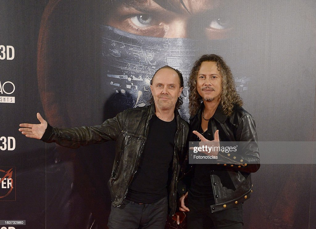 <a gi-track='captionPersonalityLinkClicked' href=/galleries/search?phrase=Lars+Ulrich&family=editorial&specificpeople=209281 ng-click='$event.stopPropagation()'>Lars Ulrich</a> and <a gi-track='captionPersonalityLinkClicked' href=/galleries/search?phrase=Kirk+Hammett&family=editorial&specificpeople=204665 ng-click='$event.stopPropagation()'>Kirk Hammett</a> of Metallica attend the premiere of 'Metallica: Through The Never' at Callao cinema on October 9, 2013 in Madrid, Spain.