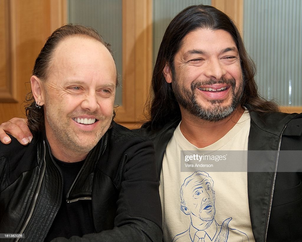 <a gi-track='captionPersonalityLinkClicked' href=/galleries/search?phrase=Lars+Ulrich&family=editorial&specificpeople=209281 ng-click='$event.stopPropagation()'>Lars Ulrich</a> and <a gi-track='captionPersonalityLinkClicked' href=/galleries/search?phrase=Robert+Trujillo&family=editorial&specificpeople=213071 ng-click='$event.stopPropagation()'>Robert Trujillo</a> at the 'Metallica: Through The Never' Press Conference at the Fairmont Hotel on September 17, 2013 in San Francisco, California.